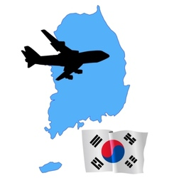 fly me to the South Korea vector image vector image