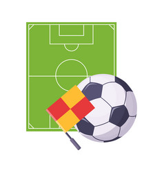 Football field ball and flag set of school and vector