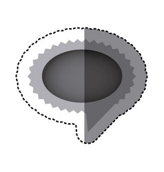grayscale sticker with oval speech with sawtooth vector image vector image