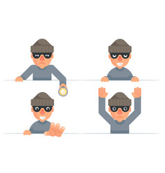 greedily evil thief grabbing hand flashlight vector image