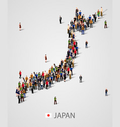 large group of people in japan map form vector image