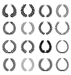 laurel wreaths set silhouette symbol collection vector image vector image