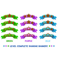 level complete ranking banners with wood vector image vector image