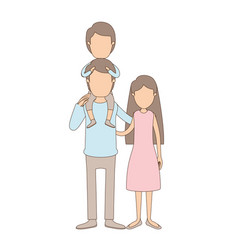 Light color caricature faceless family mother and vector