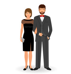 Male and female couple in elegant clothes for vector