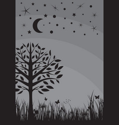 Midnight silhouette tree grass moon and stars vector