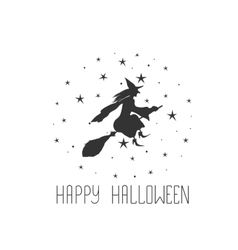 Postcard with witch and text happy halloween vector