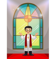 Priest doing church service in the church vector