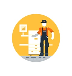 Print worker in uniform with printer vector