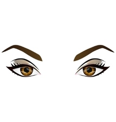 Realistic cartoon female brown eyes and vector image vector image