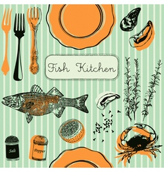 Retro Fish Kitchen Pattern Background vector image vector image
