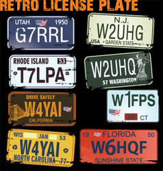 retro licence plates vector image