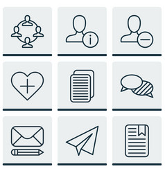 Set of 9 social icons includes note page edit vector
