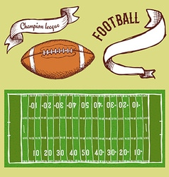 Sketch football set vector