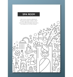 Spa Room - line design brochure poster template A4 vector image