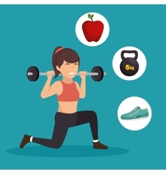 sporting girl lunge squat weight barbell icons vector image