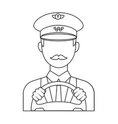 taxi driver wearing a cap man is driving a taxi vector image vector image