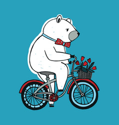 The bear on the bicycle with basket and flowers vector