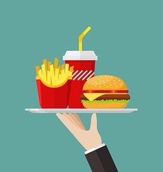 Waiter serving a hamburger french fries and soda vector image