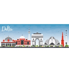 Delhi skyline with gray buildings and blue sky vector