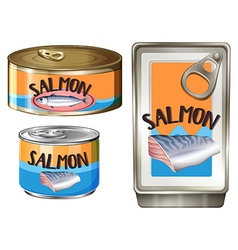Salmon meat in aluminum cans vector
