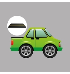 green pick up truck on road vector image