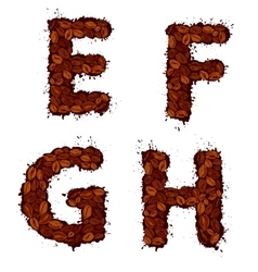Efgh english alphabet letters made of coffee vector
