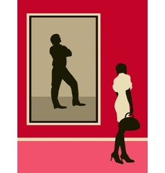 Woman near the man portrait vector