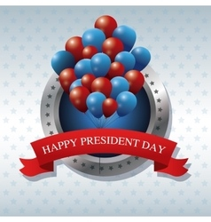 Happy president day bunch balloons ribbon label vector