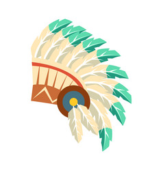 leader war bonnet with feathers native american vector image