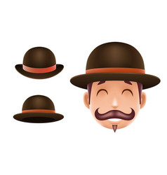 Gentleman victorian business cartoon bowler hat vector