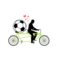 Lover soccer guy and football ball on tandem vector
