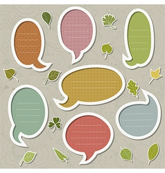 Speech bubbles set with leaves vector