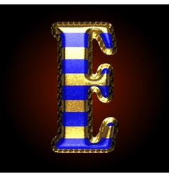 Golden and blue letter e vector