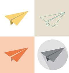 Paper plane in four design vector