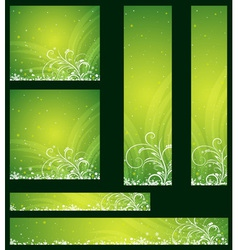 Green christmas banners with snowflakes vector