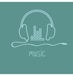 Headphones with cord and equalizer word music vector