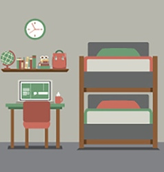 Bunk bed with workspace vector