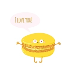 Postcard with cute macaroon i love you vector