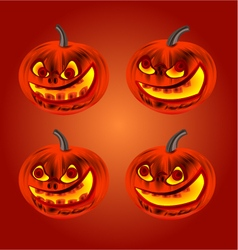 Happy halloween set merry pumpkin vector