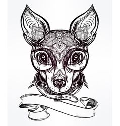 Ornate dog portrait with place for your text vector