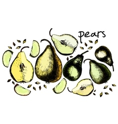 Set of drawing pears vector