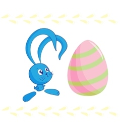 Cute easter bunny and egg vector