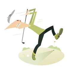 Angry golfer playing golf vector