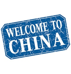 Welcome to china blue square grunge stamp vector