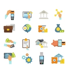 Banking Service Icon Flat Set vector image