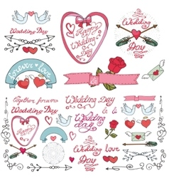 Wedding doodle decor elements set vector