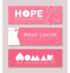 Breast cancer banner set with girl body silhouette vector