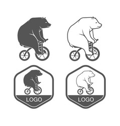 Bear on bicycle minimalistic vector