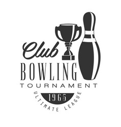 Bowling club tournament ultimate league vintage vector